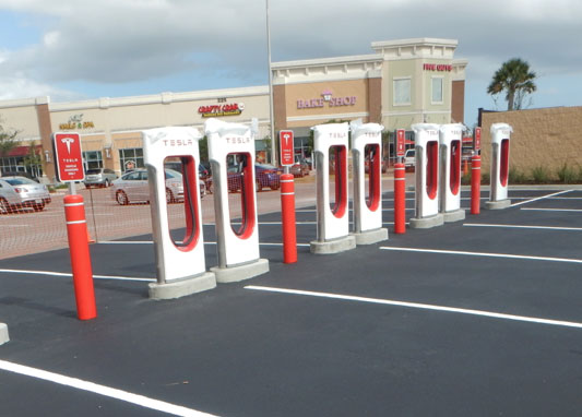 new tech tesla supercharger station